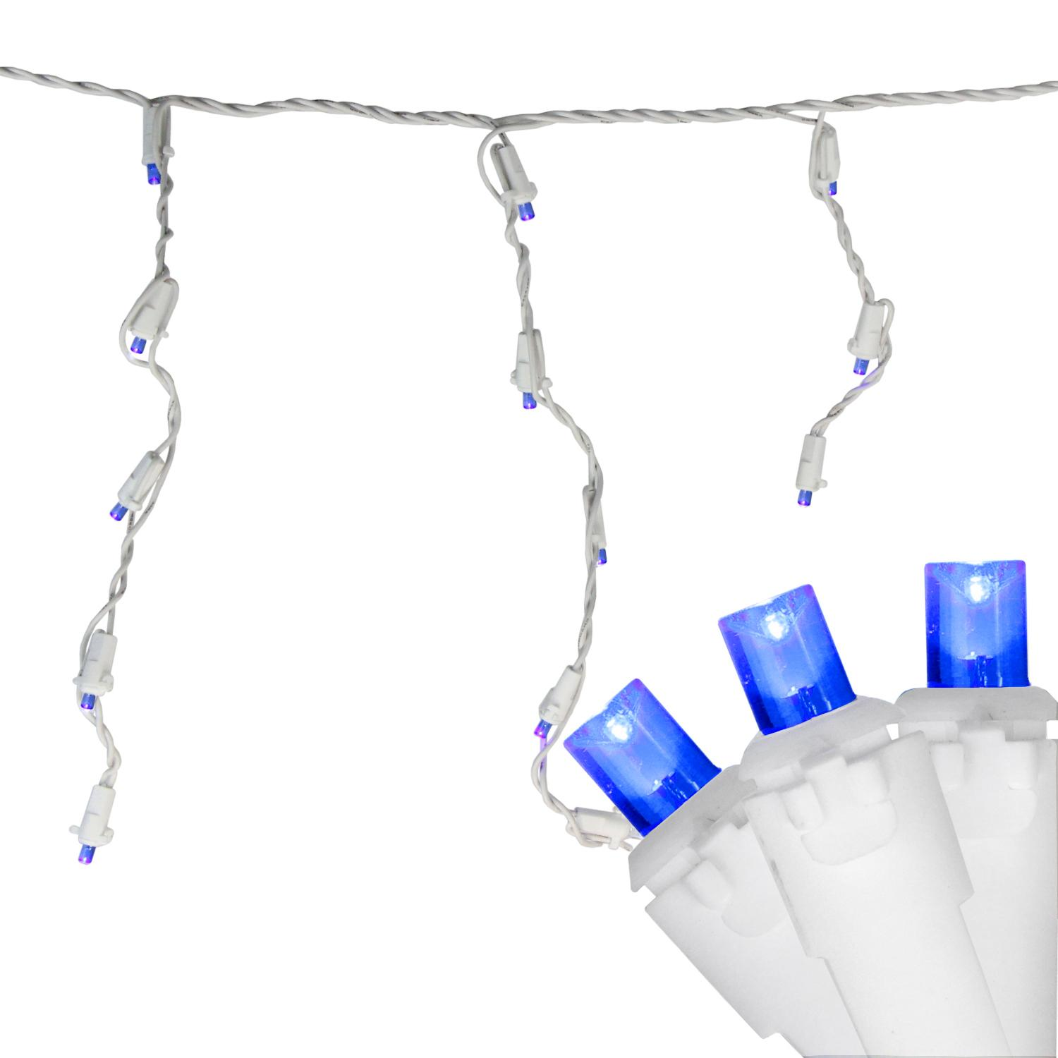 Set of 100 Blue LED Wide Angle Icicle Christmas Lights - White Wire