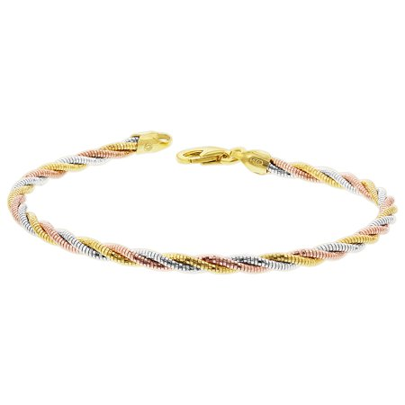 - Gem Avenue 925 Sterling Silver 3 Tone Twisted Rope Chain 7.5 Inch Bracelet with Lobster Clasp