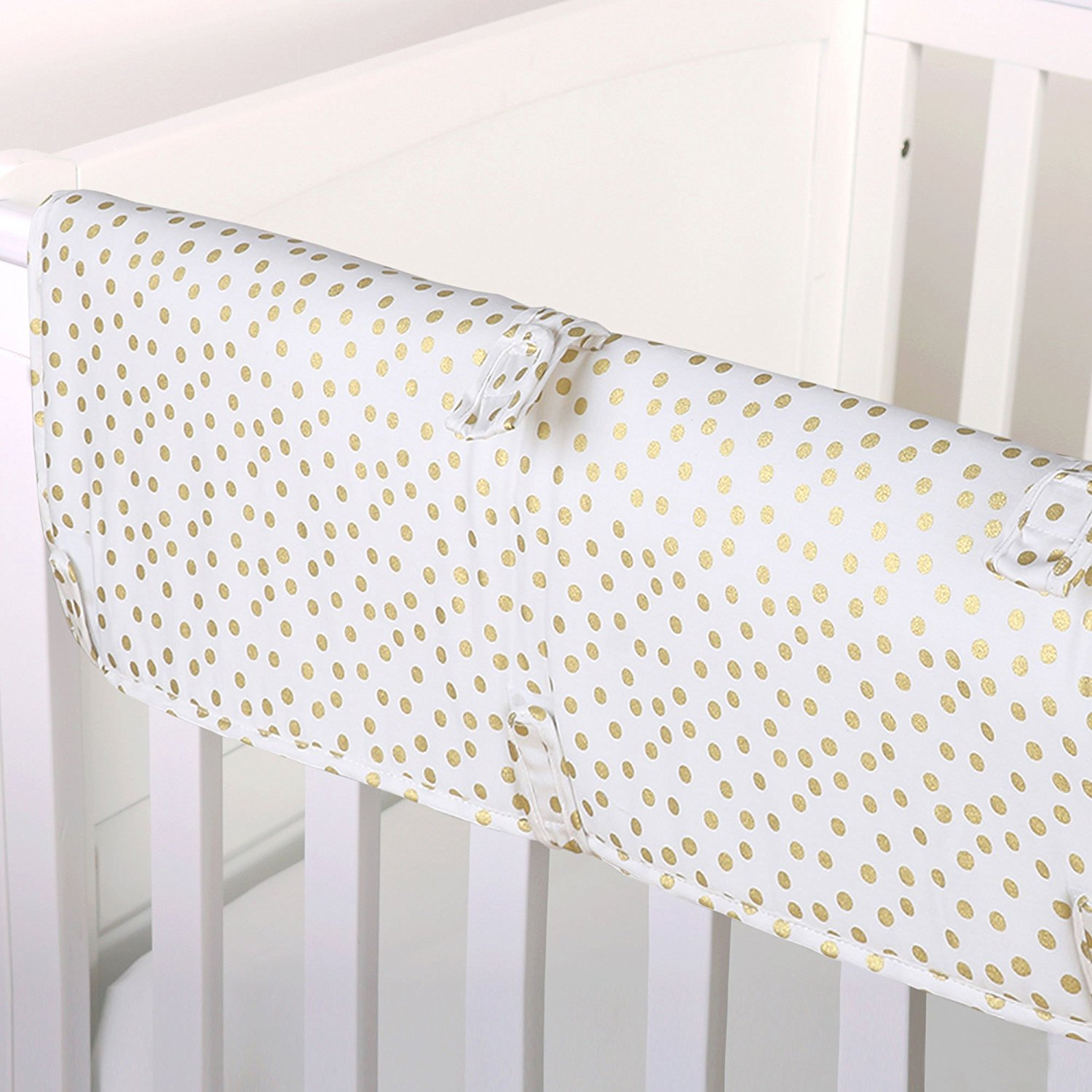 Gold Confetti Dot Print 100% Cotton Padded Crib Rail Guard by, Crib rail guard protects your teething baby from harmful toxins while keeping the.., By The Peanut Shell Ship from US
