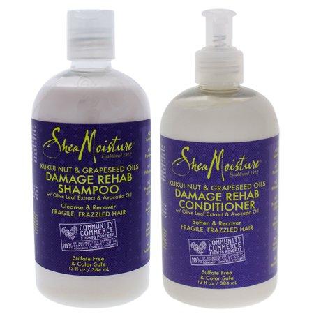 2 Pack - Shea Moisture Kukui Nut and Grapeseed Oils Damage Rehab 13 oz