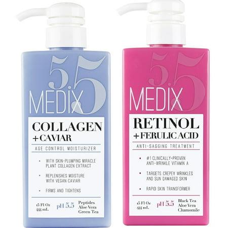 Medix 5.5 Retinol Cream and Collagen Cream Set. Medix 5.5 Retinol Cream with Ferulic Acid targets Crepey Skin, Wrinkles and Sun Damaged Skin. Collagen Cream firms and tightens Sagging Skin. Two