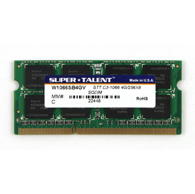 Super Talent DDR3-1066 SODIMM 4GB Notebook Memory