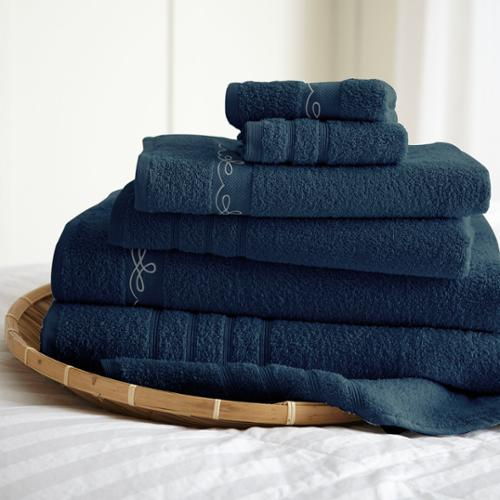 Embroidered Combed Cotton 6 Piece Towel Set - Vintage Ribbon Denim