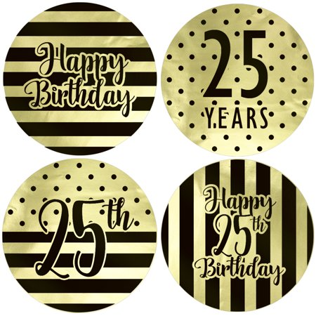Gold Foil 25th Birthday Favor Labels 40ct - Black and Gold Stripe and Polka Dot Birthday Party Supplies - 40 Count Stickers (1 3/4 inch)