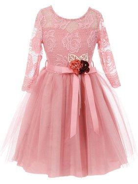 1bcc38c78b Product Image Girls Pink Rose Floral Lace Long Sleeve Mesh Flower Girl Dress