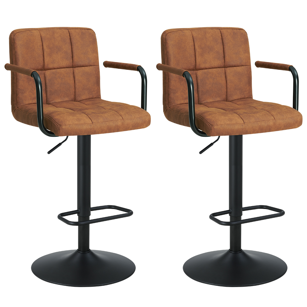 Duhome Set Of 2 Barstools Contemporary Swivel Bar Stools Square Height Adjustable With Backs And Arms Modern Tech Fabric Brown Walmart Com Walmart Com