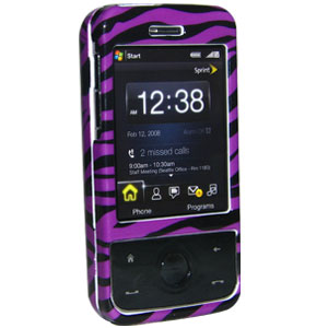 Premium Zebra Print Purple Snap On Hard Shell Case for Sprint HTC Touch Pro, HTC Touch Pro