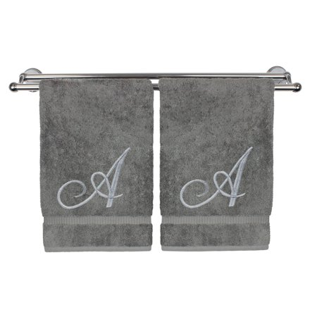 Monogrammed Washcloth Towel, Personalized Gift, 13x13 Inches - Set of 2 - Silver Script Embroidered Towel - Extra Absorbent 100% Turkish Cotton - Soft Terry Finish - Initial A Gray