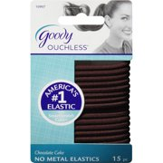 (2 Pack) Goody Ouchless No Metal Hair Elastics, Chocolate Cake 10907, 15 count