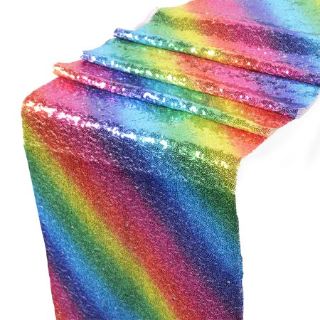 Rainbow Sequins Table Runner Glitter Table Flag Decorations for Wedding Birthday Baby Shower](Rainbow Table Decorations)