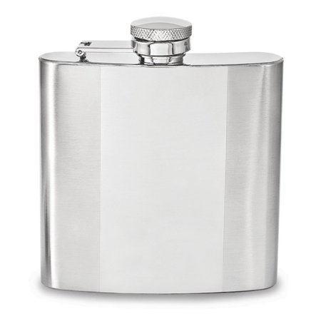 Polished and Brushed Square Stainless Steel 6oz Hip Flask - Chrome Polished Flask