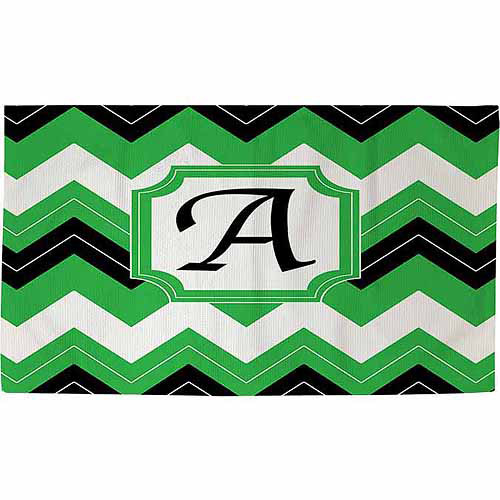 Thumbprintz Chevron Monogram Rug, Black
