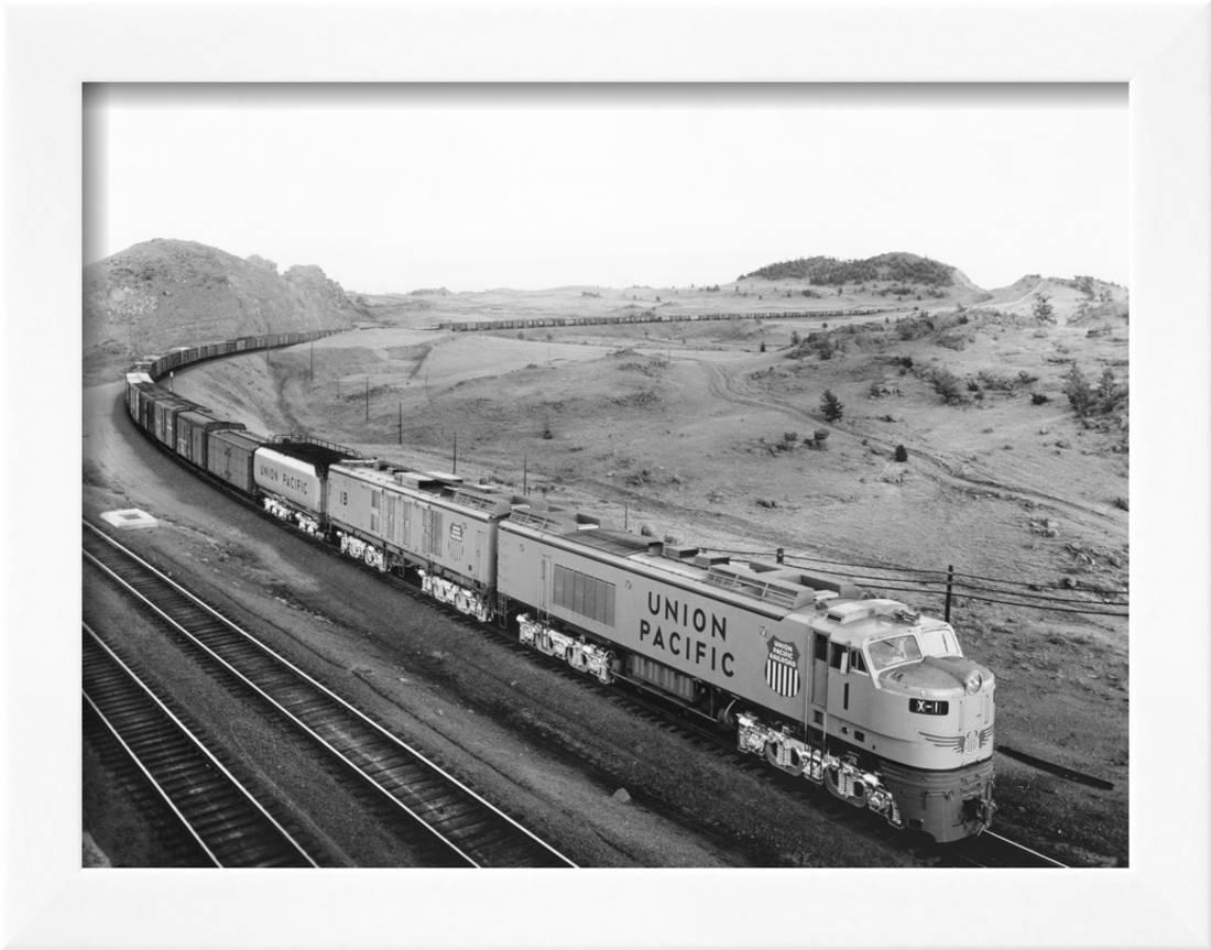 fc381f1a07 Overhead View of Large Freight Train Framed Print Wall Art
