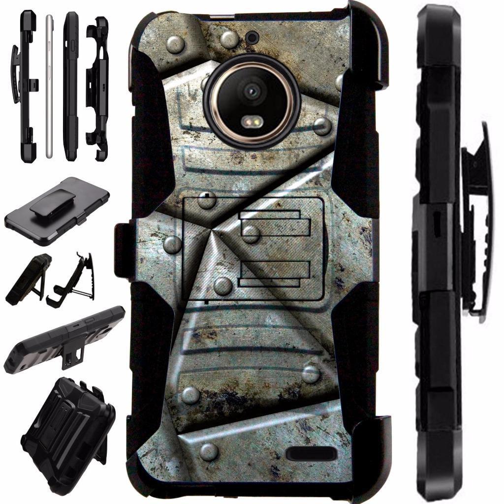 For Motorola Moto E4 Case / Moto E 4 Case Armor Hybrid Case Silicone Cover Kick Stand LuxGuard Holster (Metal Shell)