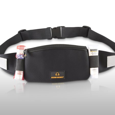 Gear Beast Running Belt Waist Pack. Comfortable, Lightweight Pouch Holds Phone, Keys, ID, Wallet, Sunscreen, Snack, Passport, etc. Perfect for Running, Hiking, Travel, Camping or Any Other Activity.