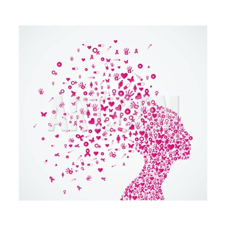 Breast Cancer Decor (Breast Cancer Awareness Ribbon - Woman's Head Print Wall Art By)