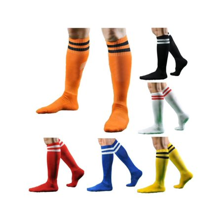 Men Women Striped Over The Knee Thigh High Stockings Football Sport Long Socks