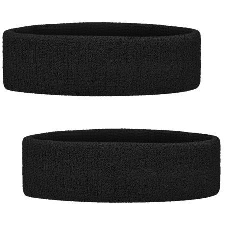 GOGO 2PCS Terry Cloth Sports Headbands Sweat Bands for Working Out Black
