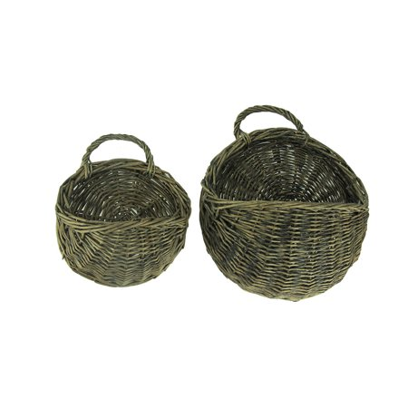 Rustic Round Woven Wicker Wall Basket Set of 2 ()