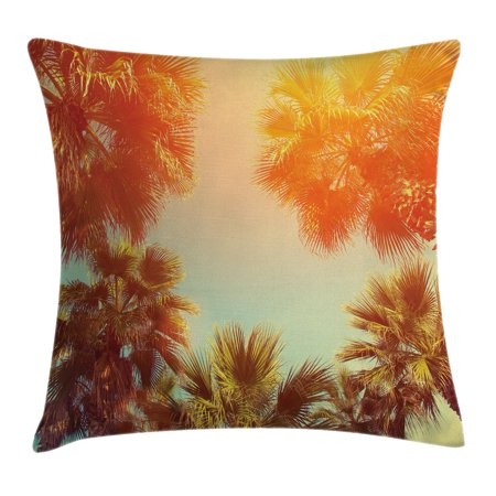 Tropical Theme (Palm Tree Decor Throw Pillow Cushion Cover, Trees Sunlights Tranquility in Tropical Nature Landscape at Summer Theme, Decorative Square Accent Pillow Case, 16 X 16 Inches, Orange Green, by Ambesonne )