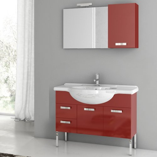ACF by Nameeks ACF PH04-GR Phinex 39-in. Single Bathroom Vanity Set - Glossy Red