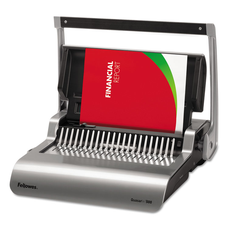 Quasar 500 Manual Comb Binding System, 18 1 8 X 15 3 8 X 5 1 8, Metallic Gray by