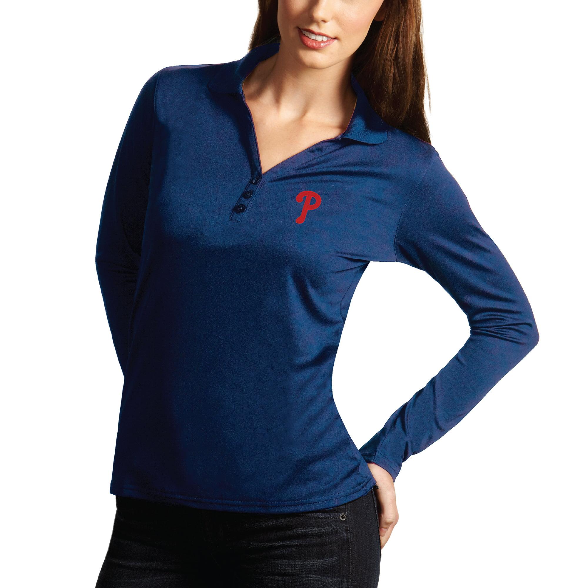 Philadelphia Phillies Antigua Women's Desert Dry Xtra Lite Exceed Long Sleeve Polo - Royal
