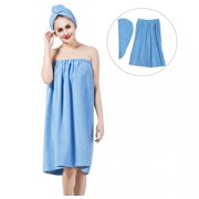Fosa Women's Bath Wrap Set, Adjustable Bathing Bathrobe and Hair Drying Cap Spa Strapless Shower Towel Kits, 35.4 inch/90cm Length,Bath Wrap Set