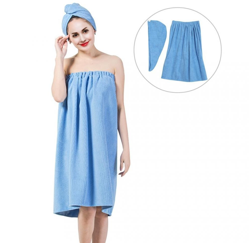 Women's Bath Wrap Set, Adjustable Bathing Bathrobe and Hair Drying Cap Spa Strapless Shower Towel Kits, 35.4 inch/90cm Length,Bath Wrap Set