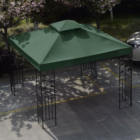 10' X 10' Gazebo Top Cover Patio Canopy Replacement 1-Tier or 2-Tier Dark Green