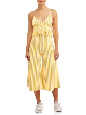 Poof Apparel Juniors' Striped Ruffle Flounce Cropped Wide Leg Jumpsuit