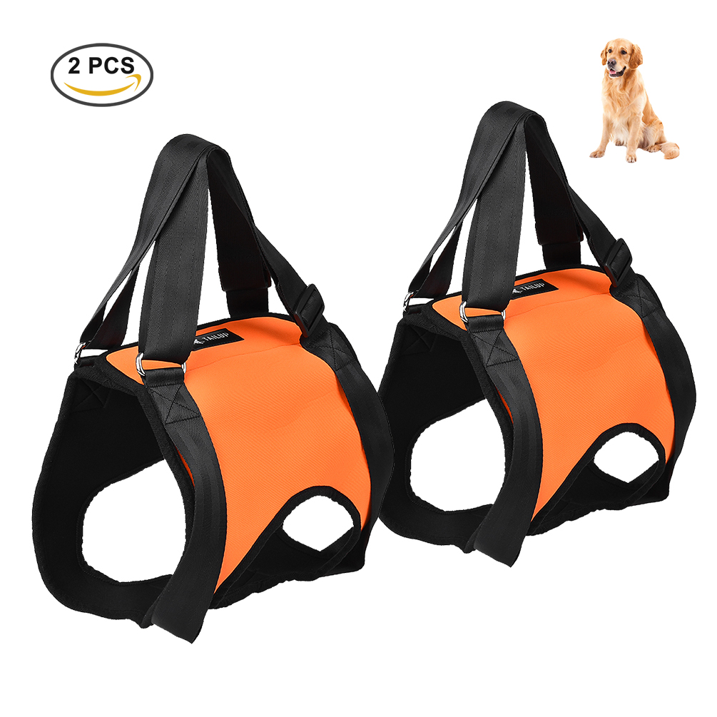 Dog Lift Support - Petacc Sling Adjustable Pet Lift Support Strap Pet Rehabilitation Harness for Medium and Large Dogs, Set of 2, Orange, L