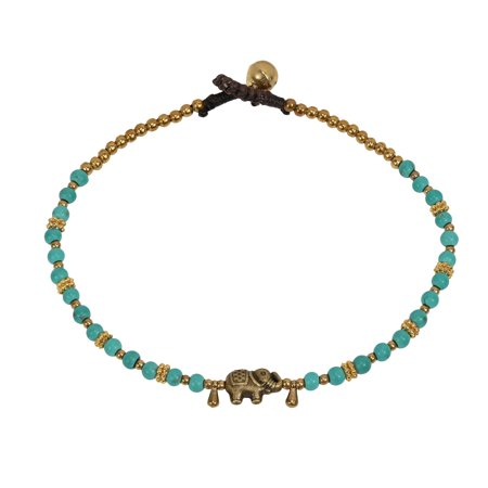 - Beautiful Brass Elephant Charm & Simulated Turquoise Beads Jingle Bell Link Anklet