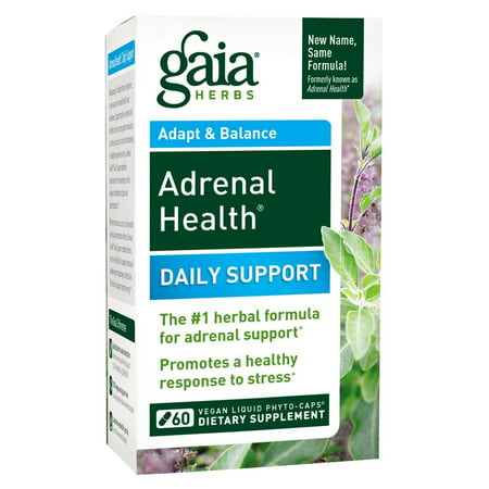 Gaia Herbs Adrenal Health Daily Support Vegan Liquid Phyto-Caps, 60 (Best Herbs For Health)