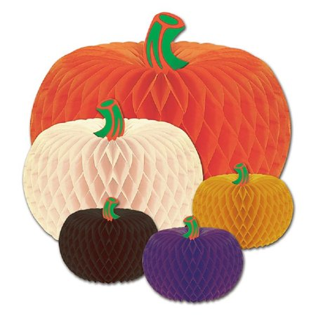 Club Pack of 60 Assorted Designer Tissue Pumpkins Halloween Decorations