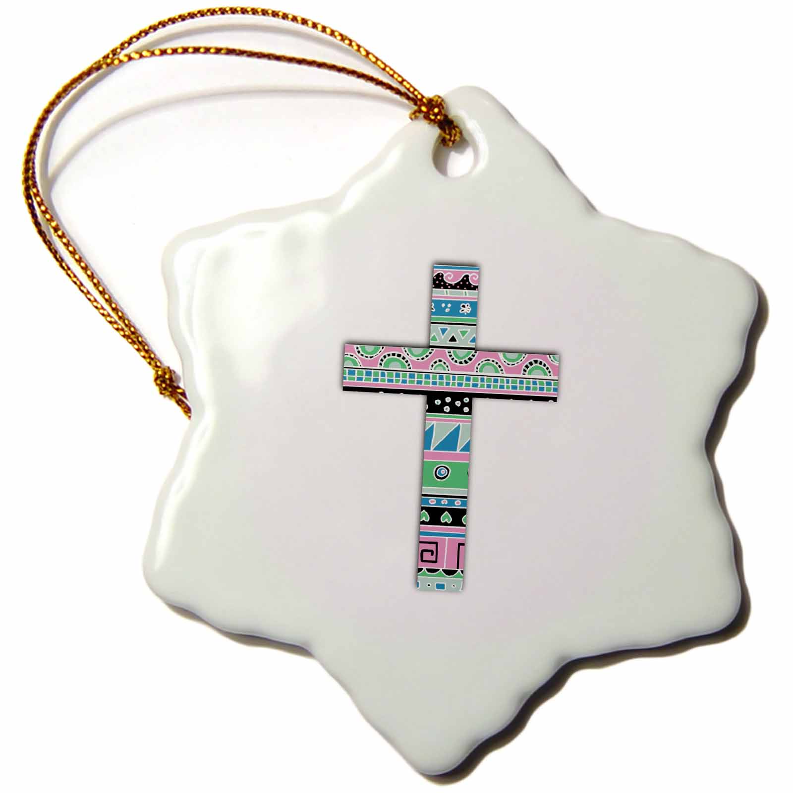 3dRose Turquoise Tribal Christian Cross with pink blue abstract pattern, Snowflake Ornament, Porcelain, 3-inch