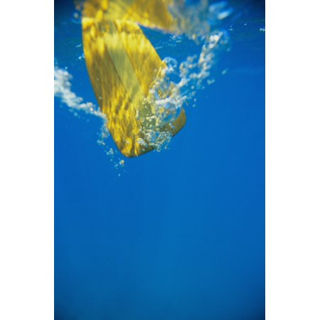 Posterazzi Underwater View Of Yellow Paddle Stroking Water Creating Bubbles Canvas Art   Joss Descoteaux  Design Pics  22 X 34