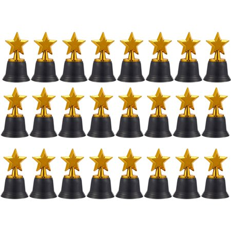 Juvale Star Trophies - Pack of 12 Mini Star Awards, Plastic Trophies for Kids, Gold, 2.6 x 4.7 x 2.6 Inches (Star Trophy)