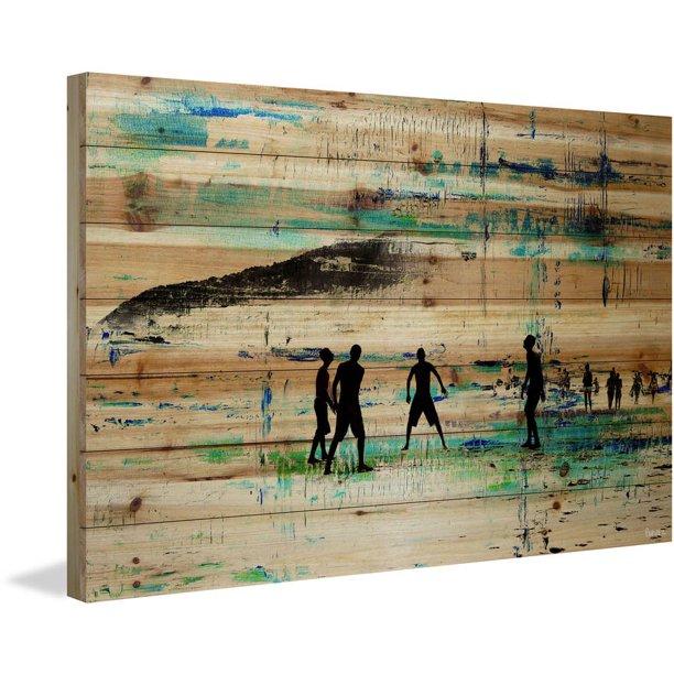 Evening Beach Green Painting Print On Natural Pine Wood Walmart Com Walmart Com