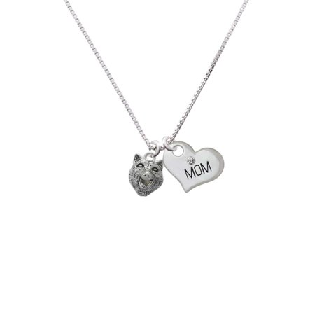Wolf Head Mom Heart Necklace - Wolf Pendant