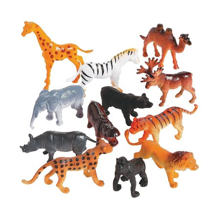 Plastic Safari Animals - Pack Of 12 - 2 Inches - Wild Jungle Animal Figures Science Learning Resource - Party Pack - For Kids Great Party Favors, Bag Stuffers, Fun, Toy, Gift, Prize - By Kidsco