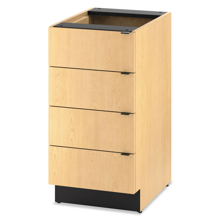 Hospitality Single Base Cabinet, Four Drawers, 18w X 24d X 36h, Natural Maple