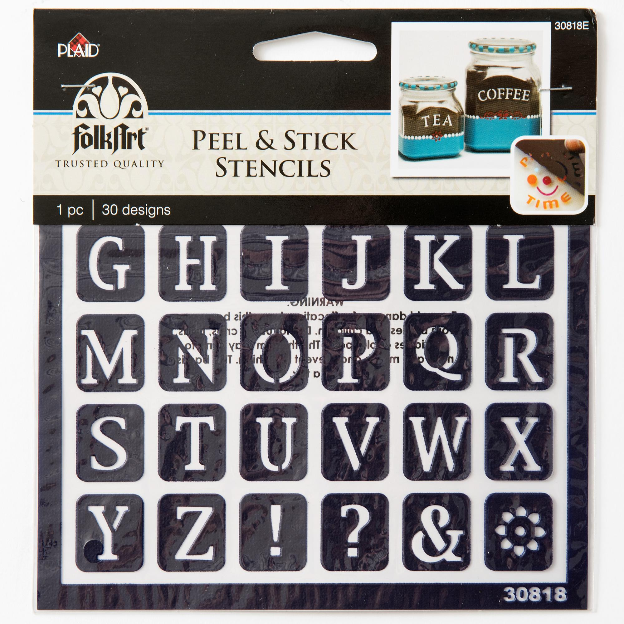 "FolkArt Peel & Stick Painting Stencils by Plaid, Old School Alphabet, 6"" x 5½"" Sheet, 30 Designs"