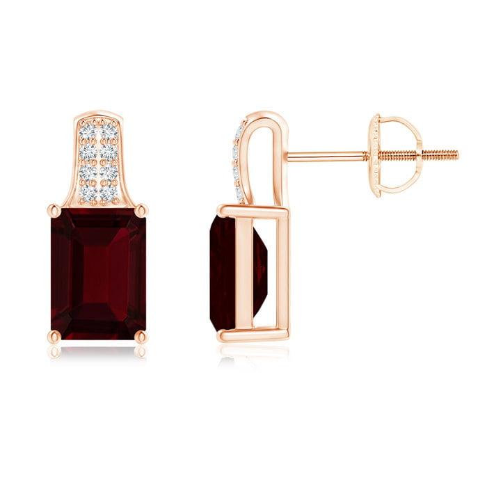 Angara Emerald-Cut Garnet Studs with Diamond Accents SCvJWvVxfO
