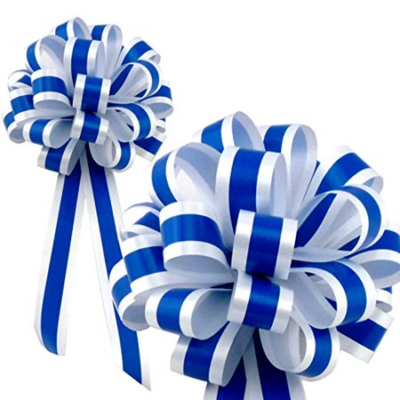 - Royal Blue & White Striped Wedding Pull Bows with Tails for Church Pews and Chairs - 8