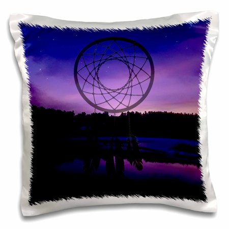 3dRose DREAM CATCHER BLUE AND PURPLE STARRY SKY OVER WATER BACKGROUND - Pillow Case, 16 by 16-inch