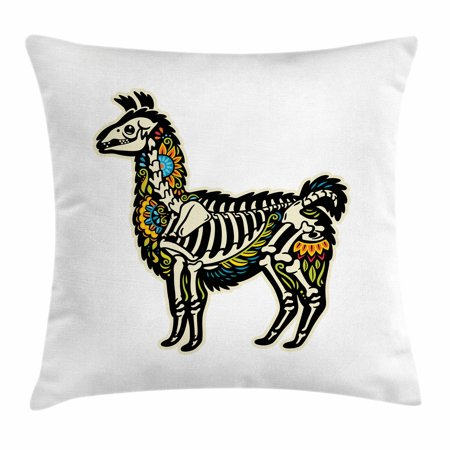 Llama Throw Pillow Cushion Cover, Sugar Skull Style Alpaca Animal Skeleton and Colorful Floral Details Day of the Dead, Decorative Square Accent Pillow Case, 16 X 16 Inches, Multicolor, by - Colorful Skeleton