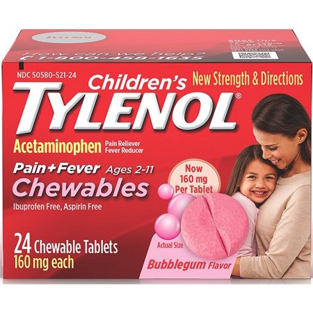 2 Pack - TYLENOL Children's Pain + Fever Chewables Tablets, Bubblegum 24