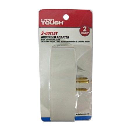 Hyper Tough 3 Outlet Adapter With Night Light White For Indoor