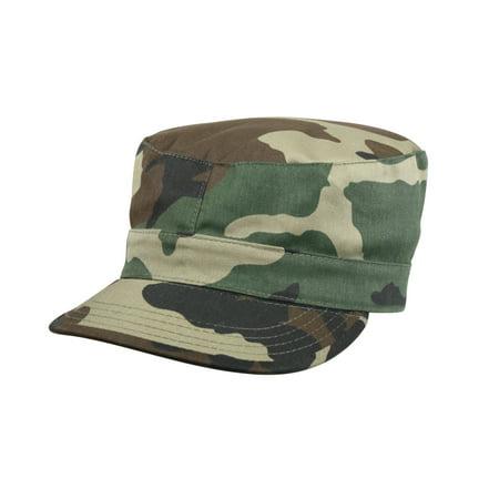Army Style Fatigue Cap in Woodland Camo